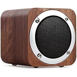 Altavoz Bluetooth Altavoz de madera, portátil Bluetooth 4.0 con tiempo de reproducción de 10 horas, Altavoz de computadora inalámbrico con resonador de graves mejorado