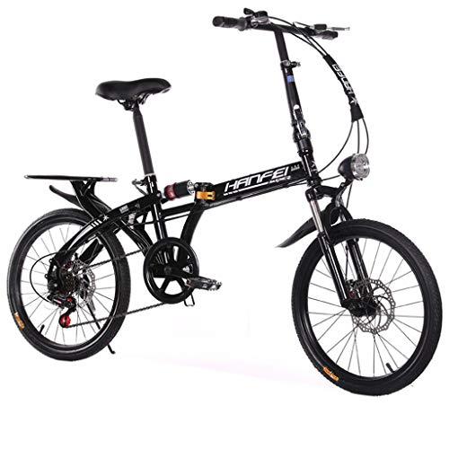 """Folding Bikes Bicicletta Pieghevole Pieghevole per Studenti, Ultra Leggera e Piccola, Adatta per 145-190 cm, Nero, 50 cm(20\"""")"""