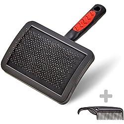 VITAZOO premium cepillo para perros | con 2 años de garantía de satisfacción | cepillo de pelo para perro, cepillo suave, cepillo de melena en negro para perros y gatos