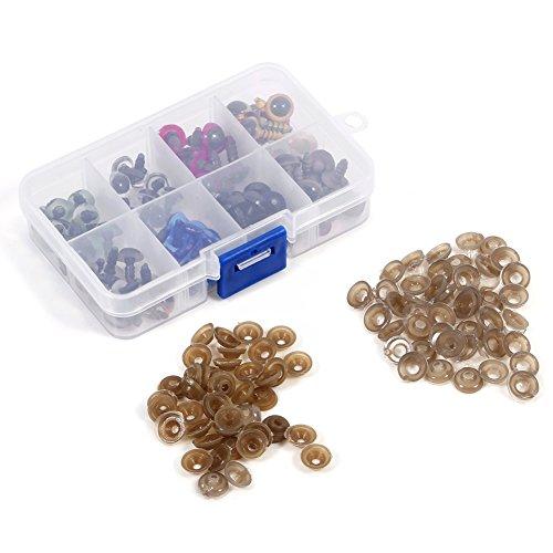 Packung Mit 80 Stück 8 Mischfarbe Kunststoff Doll Eyes, Sicherheitsaugen Mit 80 Stück Unterlegscheiben Sets Für Puppenherstellung, 10 MM(10mm)