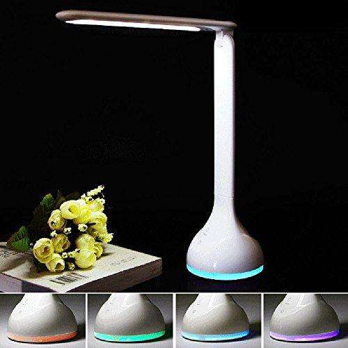 E-Plaza LED Umore Luce USB Ricaricabile Lampada Da Scrivania con RGB Base 256 Vivente Colore Sensibile al tocco Interruttore 4- Livello Luminosità180° Rotazione per Libro Lettura Studio Relax