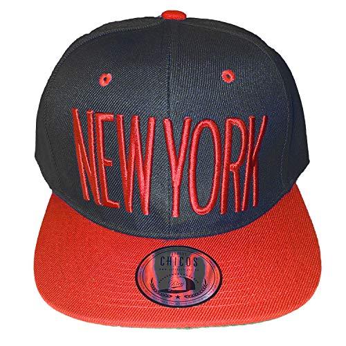 NEUES MODELL NEW YORK SNAPBACK Hip Hop CAP - viele coole Farben - Anbieter: OUTLET KING (CITY TRUCKER Mütze basecap) (schwarz-rot)