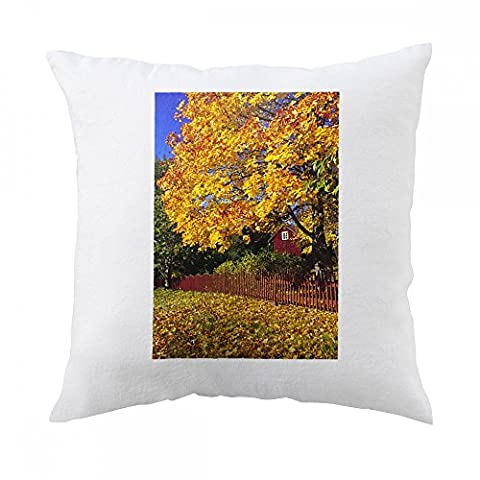 Pillow with Autumn leaves in rural area