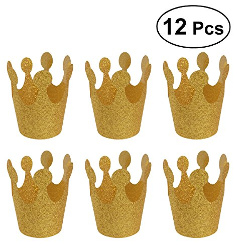 Geburtstag Party Glitter Crown Hüte Party Kronen Dekoration Lieferungen für Kinder Erwachsene (Golden) ()
