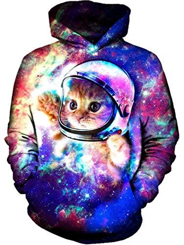 Spreadhoodie 3D Gedruckt Hoodies für Herren Damen Raum Katze Muster Leichte Pullover Hoody Rundhalsausschnitt Sweatshirts mit Tasche Rot Blau XL -