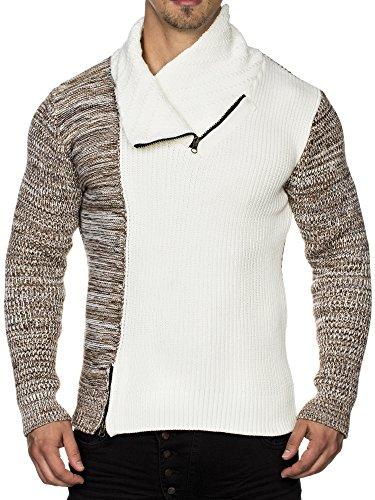 TAZZIO Herren Styler Grobstrick-Pullover mit Zipper-Kragen Melange Muster 16478 Ecru