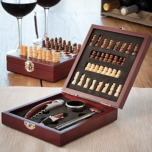 SHOP-STORY - Ensemble d'Accessoires à vin et échiquier en Coffret (37 pièces) pour Les Fans de vin et d'échecs