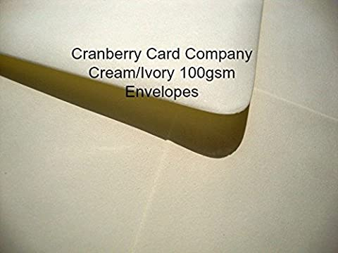 100 Cream/Ivory Envelopes by Cranberry Card Company - Various Sizes