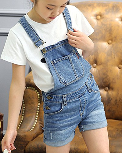 kinder m dchen latzhose kurze hosen shorts bermuda sommerhose overall einteiler jumpsuit. Black Bedroom Furniture Sets. Home Design Ideas