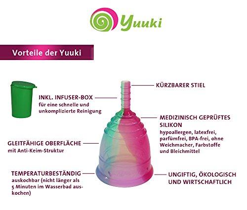 Menstruationstasse YUUKI soft large (Größe 2) Rainbow line aus medizinischem Silikon - 2