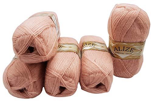 Alize - 5 gomitoli di lana da 100 g con mohair, colore: rosa 161 per lavoro a maglia e uncinetto, 500 g