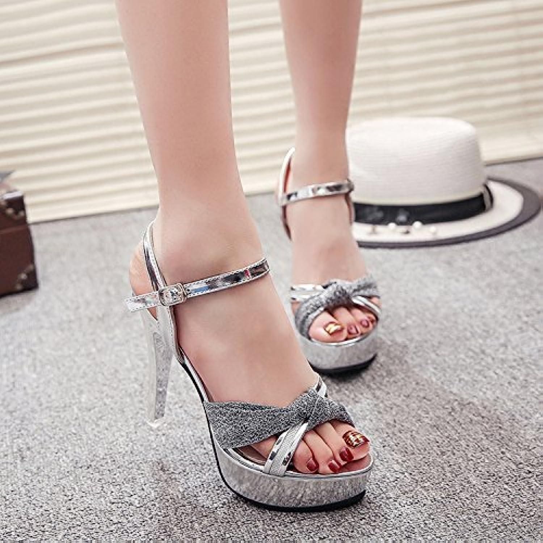 SHOESHAOGE Bien con Zapatos De Mujer 12Cm/Centímetros De Altas Prestaciones con Las Sandalias Zapatos Zapatos,... -