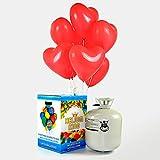 Pack Bombona de helio + 50 globos Corazon Rojo