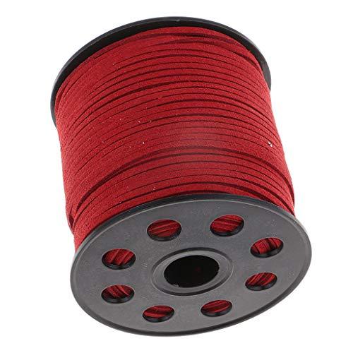 Faux-leder-mikrofaser-polsterung (sharprepublic 100 Yd Flat Velvet Faux Wildleder Schnur Spitze Leder DIY Schmuck Finden Handwerk - rot)