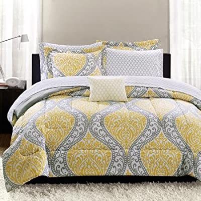 Yellow Damask Bedding Bed-in-a-bag, King Size, Create the Perfect Balance Between Modern and Fun