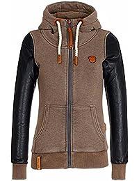 ZANZEA Fleece Femme Manteau Veste Cuir Manches Longues Col Haut Sweats à Capuche Hoodies Blouse de Sport