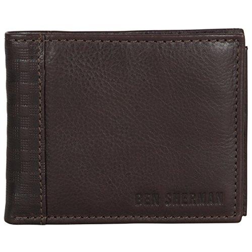 Ben Sherman Men's Leather Bi-Fold Passcase Nine Pocket Wallet with Id Window (Rfid), Brown (Herren Id Geldbörse Passcase)