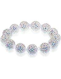 Designer Crystal Disco Ball Beads Shamballa Bracelet For Women Elastic 18cm - AB Rainbow Effect