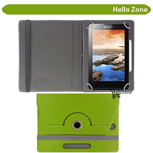 "Hello Zone Exclusive 360° Rotating 7"" Inch Flip Case Cover Book Cover for Micromax Canvas Tab P701 -Green"