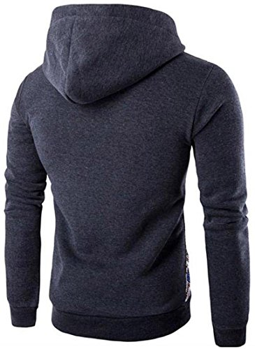 jeansian Herren Casual Ethnic Style Hooded Pullover Hoody Hoodies Sweatshirt Sports Top 88G3 Darkgray