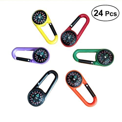 TOYMYTOY 24 stücke Kompass Klettern Karabiner Outdoor Selbsthemmung Karabiner Clip Haken Keychain für Reisen Wandern (Zufällige Farbe)