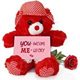 TiedRibbons® Valentine Gift for Wife Teddy Bear with Valentine's Special Greeting card and Red Rose