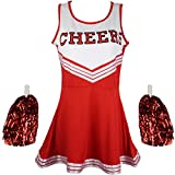 Cheerleader Fancy Dress Outfit Uniform High School Musical Costume With Pom Poms Red Cheerleader, Small