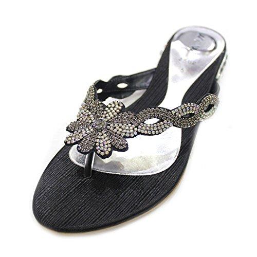 W & W Frauen Damen Abend Comfort Super leicht mit Sandalen Party Schuhe Größe (Gemz) Schwarz