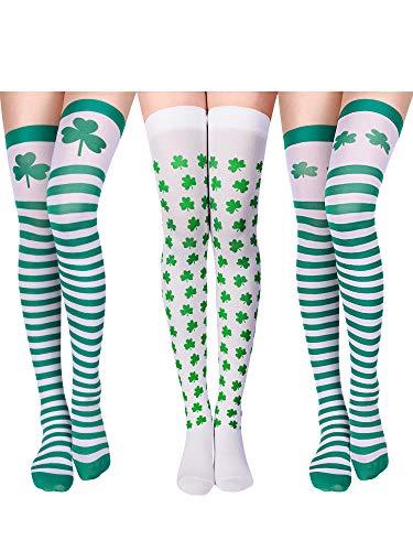Zhanmai 3 Paar Kleeblatt Oberschenkel Hohe St. Patricks Day Socken Irland Gestreifte Socken für Damen Party ()