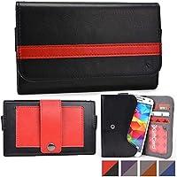 Funda tipo cartera Belt Clutch de Cooper Cases(TM) para smartphones de Prestigio MultiPhone 5503 Duo / 5508 Duo / 7500 para sujetar al cinturón en Negro / Rojo (Tira para sujetar al cinturón; ranuras para tarjetas de crédito y carnets de identidad, bolsillo; diseño en dos colores)