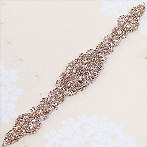 Bridal Wedding Dress Sash Belt Applique with Peach Crystals Rhinestones Handcrafted Sparkle Elegant Thin Sewn or Hot Fix for Women Gown Evening Prom Clothes