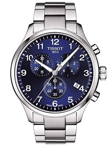 TISSOT Herren Chronograph Quarz Uhr mit Leder Armband T1166171104701