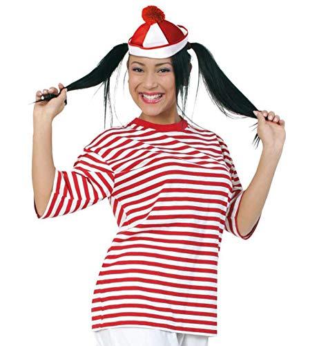 Preisvergleich Produktbild KarnevalsTeufel Kurzarm Ringel-Shirt rot / weiß / 100% Baumwolle,  Größe M - XXL / Karneval,  Fasching,  Matrose,  Freche Göre,  Clown (Large)