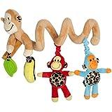 HLC Juguetes Colgantes Espiral de Animales para Cuna Cochecito Carrito Niños Niñas Diseño de Mono Multicolor