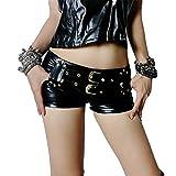 Hippolo Faux Leder Hot Shorts Doppel Schärpen Low Rise Taille Micro MINI Shorts Mit Reißverschluss Open Night Club Wear (M)