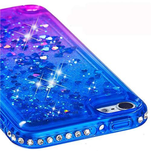 Ranyi iPod Touch 6 Hülle, iPod Touch 5 Hülle, Farbverlauf fließender Flüssigkeit Glitzer Bling Diamant Strass Quicksand Flexible Silikon Hülle für Apple iPod Touch 5 6. Generation blau/violett