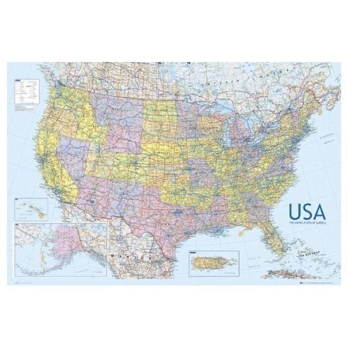 United States of America USA Large Wall Map Educational Poster 61 by 91.5cm by Elite*Posters (Vereinigte Staaten-map-kunst)