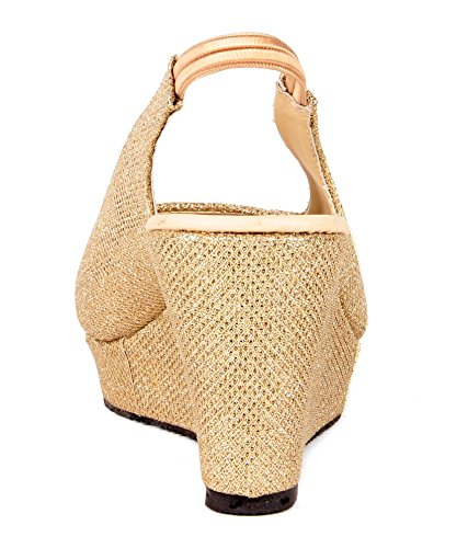 Feel It Women's Gold Fashion Sandal - 41