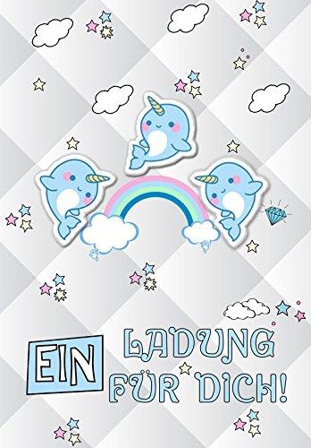 Dulce narwal Discreta Unicornio amigo ballena Invitación 12unidades Niños/narwhale tarjeta de invitación) Cumpleaños Bautizo Baby Fiesta Cumpleaños infantiles en Juego