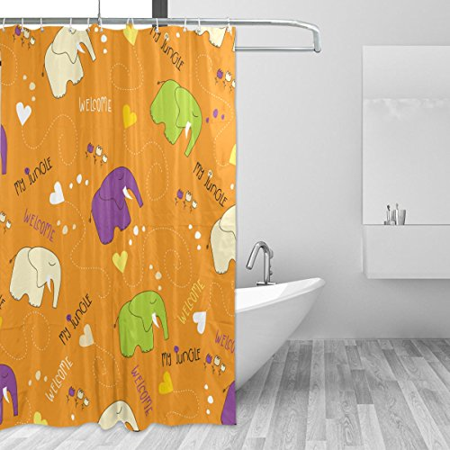 Ahomy Vorhang für die Dusche Süße Elefant Lila grün Creme Bad Vorhang Wasserdicht Polyester-Mildewproof-, Vorhang für die Dusche 12Haken Sichtschutz Home Badezimmer 182,9x 182,9cm (Vorhang Grün Und Creme-dusche)