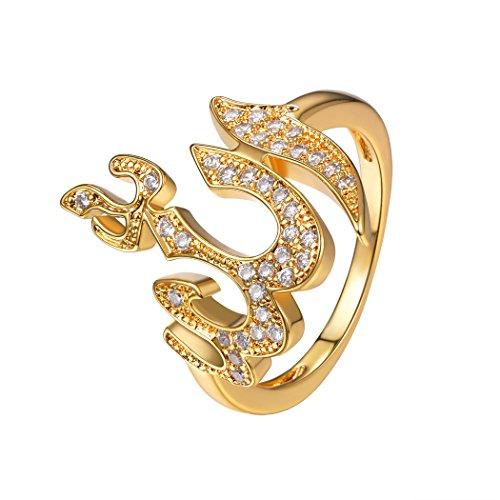 Suplight Damen Ring Islam Gott Allah Statement Ring 18K vergoldet Zirkonia Religiöse Muslim Schmuck für Mädchen Party Geburtstag Weihnachten Geschenk 57(Gold)