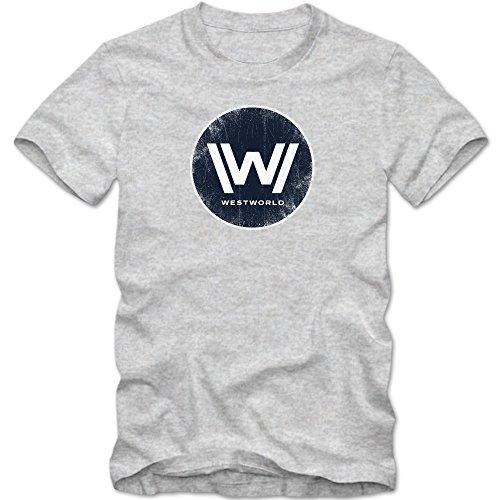 TWD T-Shirt | Men | Fantasy | Science-Fiction | TV Series Fun Shirts, Colour:Grey Basic (Heather Grey Melange);Size:X-Large