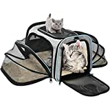 OMORC Sac de Transport Chat Chien Extensible, Structure Solide, Rangement Facile, Filet Respirant, Spacieux, Pliable, pour Voyage en Train/Voiture/Restaurant/Avion Approuvé Bleu