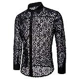 Chevalier Chemise Transparent pour Homme Maille Chemises à Manches Longues Lingerie Vêtement de Casual Clubwear Top Shirt Noir S-XXL