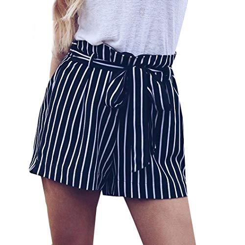 Mode Damen Sommer Streifen-Druck High Waist Shorts Lässige Gemütlich Kurze Hosen Freizeithose Beachshort Sporthose Taillen-kurze Hosen (S) -