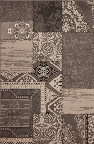 Lalee Teppich Wohnzimmer Carpet modernes Design Patchwork Rug USA-Los Angeles Silber 120x170cm | Teppiche günstig online kaufen