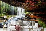 Vlies Fototapete Fotomural - Wandbild - Tapete - Wald Höhle Moos Wasserfall - Thema Wasserfälle - L - 254cm x 184cm (BxH) - 2 Teilig - Gedrückt auf 130gsm Vlies - 1X-43827V4