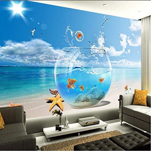 Mmneb Benutzerdefinierte 3D Wandbild 3D Vlies Meerblick Tapete Wohnzimmer Sofa Schlafzimmer Fernsehbar Hintergrund Fisch Aquarium Tapete Wandbild-400X280Cm (Fisch-tank-speicher)