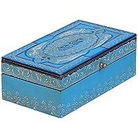 Sale on Jewelry Box - Cyber Monday Deals 2016 - SouvNear Blue Wooden Keepsake Box/Box/Trinket Jewellery Box Storage Case Box for Cufflinks, necklaces, earrings, coins Treasure-Vintage