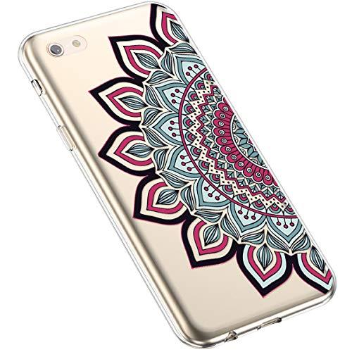 Uposao Kompatibel mit iPhone 6S Plus 5.5 Silikon Handyhülle Durchsichtig TPU Schutzhülle Transparent Blumen Muster Etui Ultra Dünn Weiche Crystal Clear Tasche Case,Henna Blumen Rot